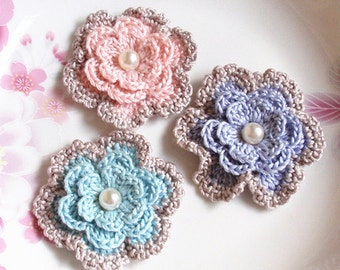 3 Crochet  Flowers With In 2 inches YH -173-01