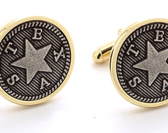 Groomsmen Gift Texas Star Cuff Link Two Tone Best Man Gift. Usher Gift. Father of the Bride. Groom Gift