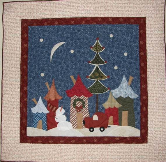 Christmas Quilted Wall Hanging Christmas Art Quilt Red