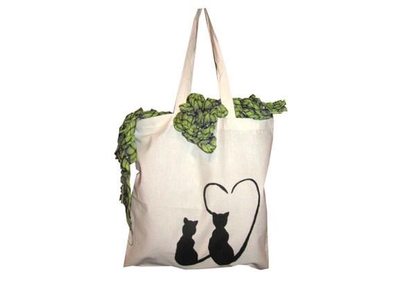 Hand painted - Canvas Bag - Light Weight Fabric - Cats in love - Natural Color - Cat Lovers