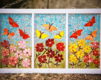 Flowers Butterflies Garden Theme Mosaic / Stained Glass Window Hanging / Reclaimed Window / Storefront Office Home Art