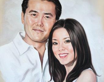 Couple portrait, pastel portrait painting