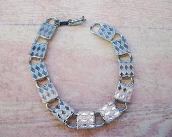 Vintage Silver Tone Metal Bracelet with Pads
