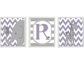 Elephant Giraffe Bird Chevron Nursery Art - Personalize - Lavender Gray Decor Initial - Custom Baby - Wall Art Home Decor -   Prints