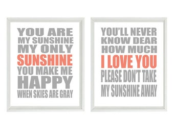 You Are My Sunshine Nursery Art - Typography - Neutral Baby Girl Baby Boy Toddler Room - Gray Coral - Playroom Room Wall Art Print