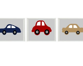 Car Art Print Set - Baby Boy Nursery Toddler Boy Room - Gray Red Navy Tan - Transportation Wall Art Home Decor    Prints