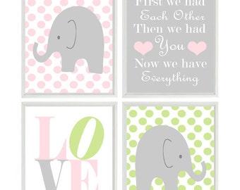 Elephant Nursery Art - Pink Green Polka Dot - First We Had Each Other Quote - Baby Girl Nursery Prints - Wall Art  Love - Nursery Decor