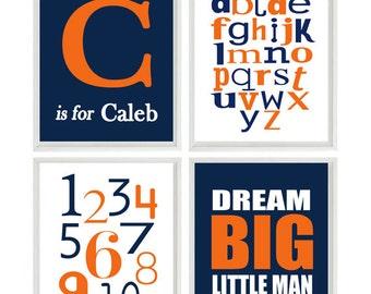 Baby Boy Nursery Wall Art, Personalized Nursery Art, Alphabet Print, Numbers Art, Dream Big Little Man Quote, Navy Blue Orange Nursery
