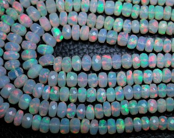 8 Inch Strand,AAA Quality,LARGE Size ETHIOPIAN Opal Faceted Rondelles,4.5-6mm size