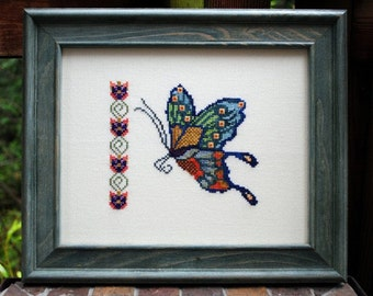 """SALE! Butterfly Cross Stitch Instant Download """"Joy Of Spring"""" Pattern. Counted Embroidery Chart. Floral Band. X Stitch."""
