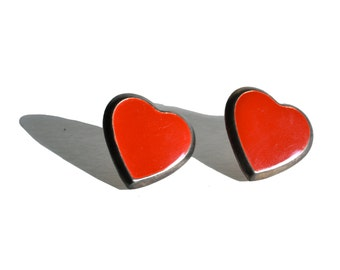 Large Vintage Heart Earrings