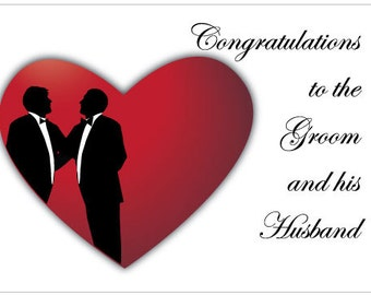 Gay Wedding Congratulation Card for the Groom ad his Husband
