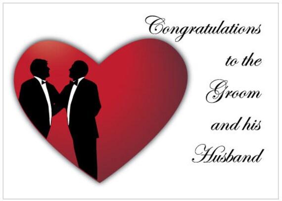 Super Carte de félicitation mariage gay pour l'annonce de Groom QU59