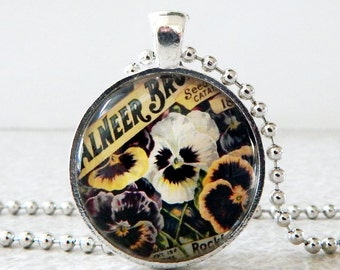 Pansy Necklace, Pansy Pendant, Pansy Jewelry, Glass Pansy Necklace, Vintage Pansy Seed Packet Pendant, Mother's Day Gift, Birthday Present
