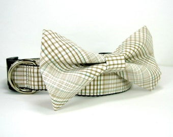 Beige Multe Plaid Suiting Dog Collar with bow tie set(Mini,X-Small,Small,Medium ,Large or X-Large Size)- Adjustable