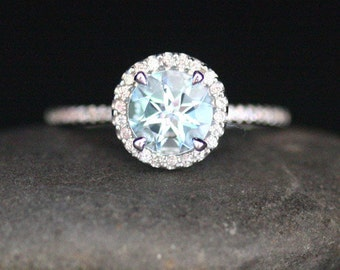 Aquamarine Engagement Ring Round 7mm Aquamarine 14k White Gold Ring with Diamond Halo (Also Available in Rose Gold)