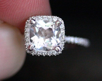 White Topaz Ring Engagement Ring in 14k White Gold with White Topaz Cushion 7mm and Diamond Halo Ring