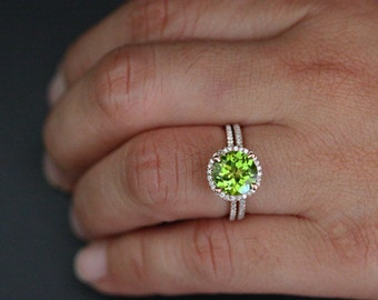 Peridot Engagement Ring Peridot Wedding Ring Set in 14k Rose Gold with Peridot Round 9mm and Diamond Halo