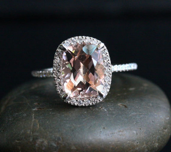 Pink Peach Morganite Engagement Ring Cushion Morganite 10x8mm