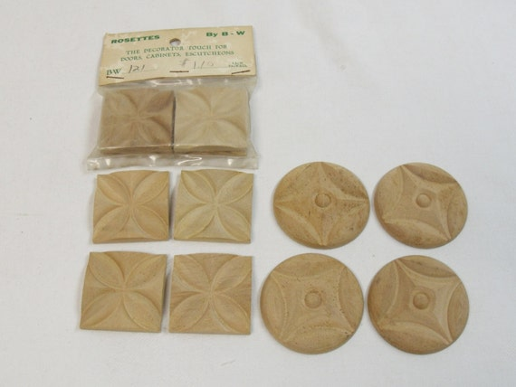 12 vintage wood rosettes onlay decorative by for Decorative wood onlays