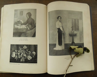 Antique art book Vintage illustrated art book Danish artists