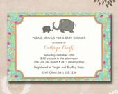 Elephant Theme Baby Shower Invitations - Personalized Elephant Printable Invitations