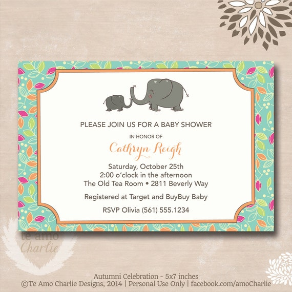 baby shower invitations personalized elephant printable invitations