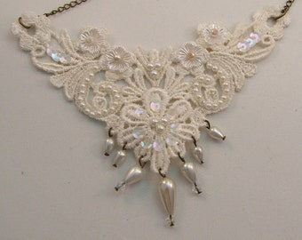 Large White and Ivory Lace Necklace with Pearly Drops Beads