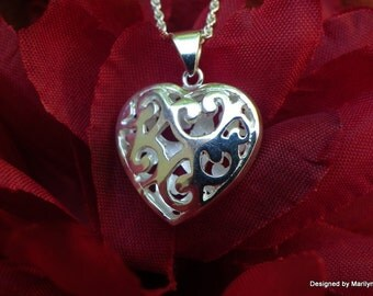 Sterling silver heart necklace, love necklace,  wedding jewelry, carved heart