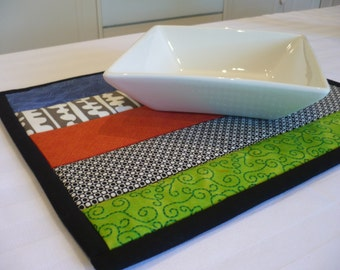 Trivet or Hot Pad Multi Stripes Quilted