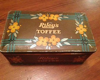 Vintage 30s Candy Tin Riley's Toffee Halifax England Aged Patina