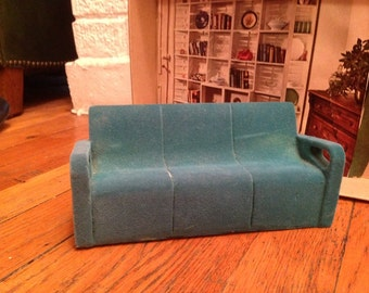 Green Flocked Modern Miniature Doll House Couch -- Dusty But Good