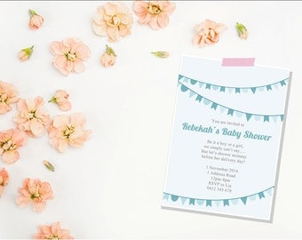 Bunting Baby shower invitation | blue baby shower invite | digital | printable file