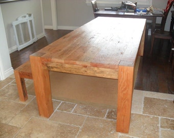 Dining table and bench from reclaimed wood custom made in the USA