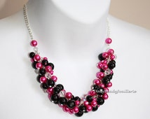 Black and Hot Pink Necklace, Pearl Cluster Necklace, Bridesmaids Necklace, Cluster Necklace, Hot Pink Necklace, Bridesmaids Gifts