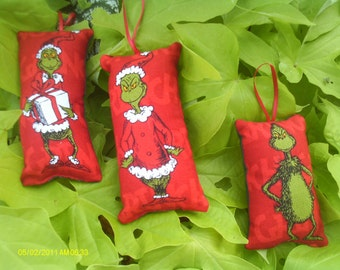The Grinch Christmas Pillow Ornaments Set of 3