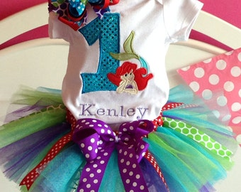 Personalized Ariel Little Mermaid Birthday tutu outfit