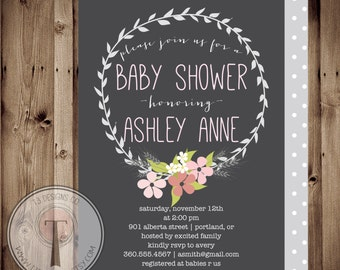 Simple Shabby Chic,BABY GIRL Baby Shower Invitation, baby shower invite,  modern baby shower, elegant, flowers, front & back