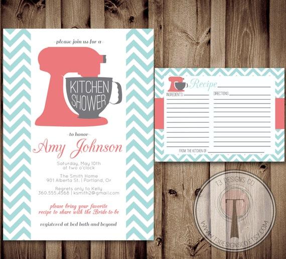 Kitchen Shower Invitation And Recipe Card, Kitchen Shower