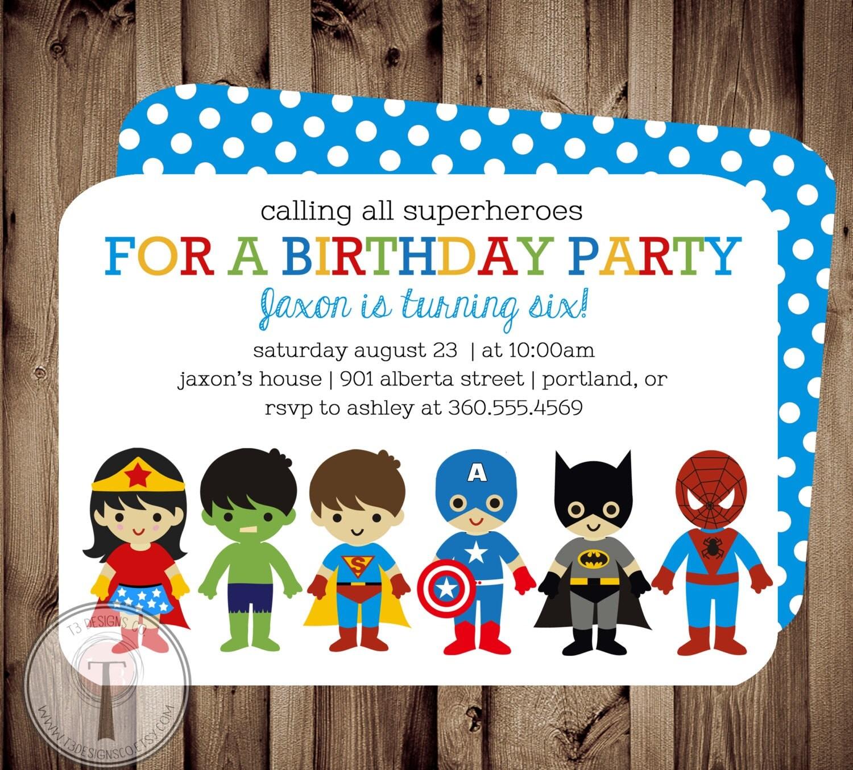superhero and super girl birthday invitation birthday invite