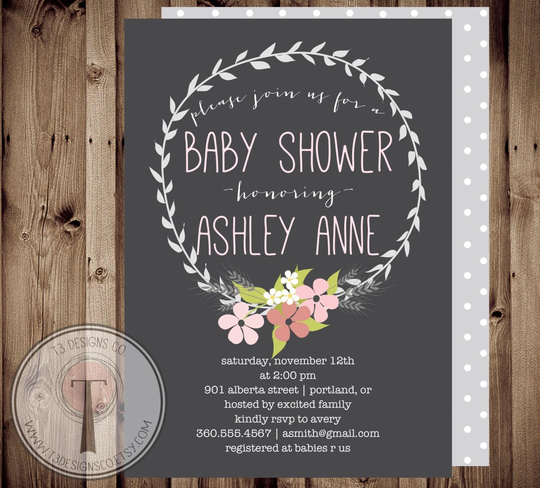 simple shabby chicbaby girl baby shower invitation baby