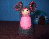 Lil Miss Squeaks, Eco-Friendly, Waldorf Inspired,Wool and Wood Peg People, Dollhouse Doll, Nature Table