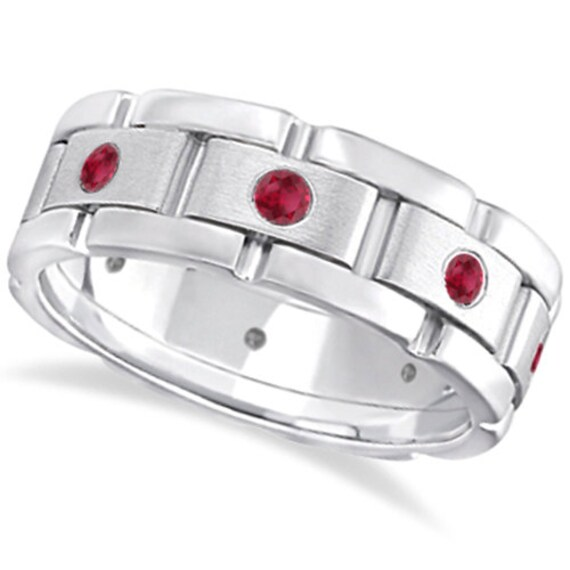 Men 39 S Ruby Wedding Ring Wide Eternity Band 14k White By Allurez