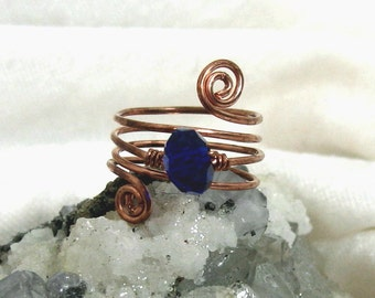 Copper Ring, Blue Ring, Swarovski Crystal Ring, Copper Ring, Wrapped Ring, Adjustable Ring
