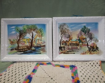 SALE was 25.00 Vintage Japan Hand Painted High Gloss Ceramic Pictures Snow Laden Farm Structures and Scenes T