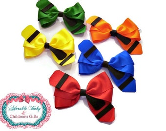 Back to School!!! Set of 5 Crayon Bows