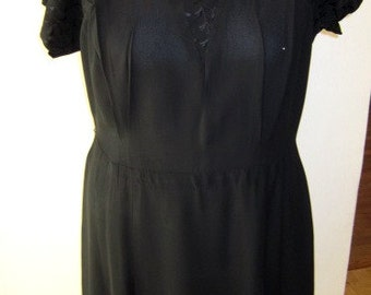 Larger Size Vintage Black Crepe Dress with Rhinestone Detail, ca 1930s