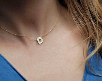 Solid gold Initial Necklace, 14K Gold Letter Necklace, Tinyl Letter Necklace
