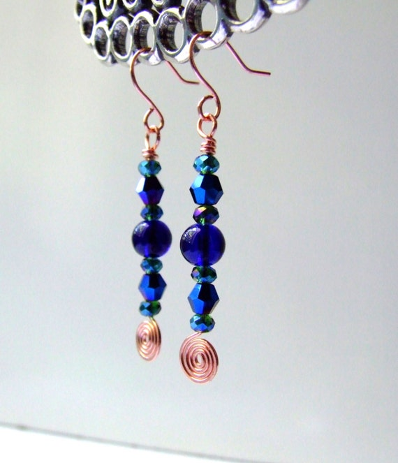 Colbalt crystal copper hammered dangle earrings.