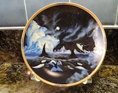 Lenox Sea of Dreams Plate - Polar Strollers - Vintage Series with Orca Whales